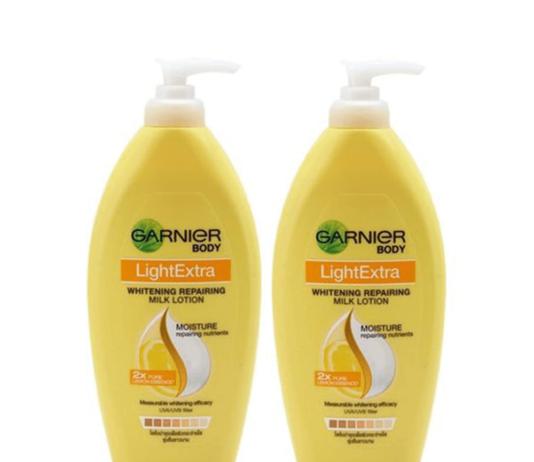 ครีมทาผิวขาว Garnier Body Light Extra Whitening Repairing Milk Lotion