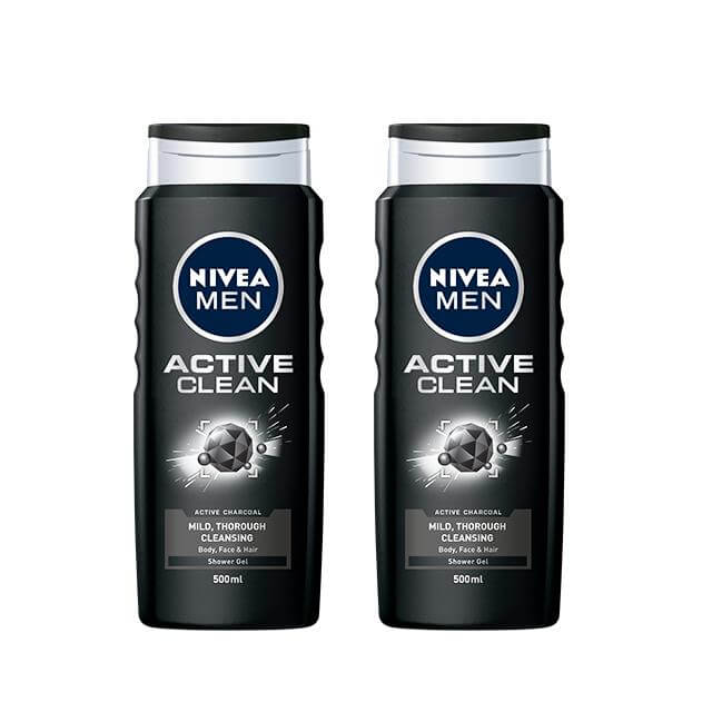 NIVEA Men Active Clean Shower Gel ครีมอาบน้ำสำหรับผู้ชาย